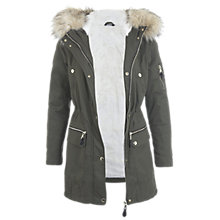 Buy Miss Selfridge Petite Luxe Parka Coat, Khaki Online at johnlewis.com