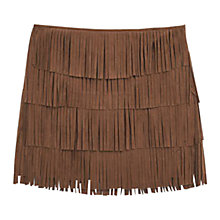 Buy Mango Fringed Mini Skirt, Brown Online at johnlewis.com