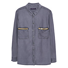 Buy Violeta by Mango Soft Fabric Shirt, Medium Grey Online at johnlewis.com
