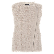 Buy Mint Velvet Collarless Faux Fur Gilet, Taupe Online at johnlewis.com