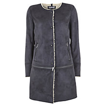 Buy Mint Velvet Suedette Faux Sheepskin Lined Coat, Granite Online at johnlewis.com