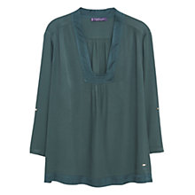 Buy Violeta by Mango Textured Panel Blouse, Dark Green Online at johnlewis.com