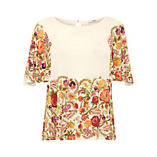Buy Oasis Embroidered Floral Top, Off White/Multi Online at johnlewis.com