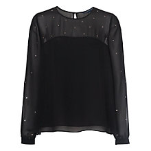 Buy French Connection Arctic Spell Top, Black Online at johnlewis.com