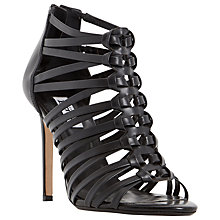 Buy Dune Meeli Strappy High Heel Sandal, Black Leather Online at johnlewis.com