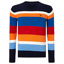 Buy Gant Natural Cotton Multi Stripe Crew Neck Jumper, Multi Online at johnlewis.com