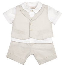 Buy Emile et Rose Baby Gilbert 3 Piece Linen Set, Cream Online at johnlewis.com