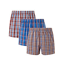 Buy John Lewis Eric Check Cotton Boxers, Pack of 3, Blue/Red Online at johnlewis.com