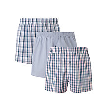 Buy John Lewis Tim Woven Cotton Boxers, Pack of 3, Blue/Pink Online at johnlewis.com