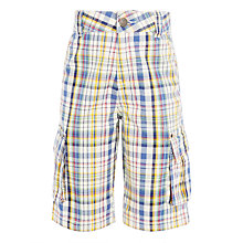 Buy John Lewis Boys' Check Cargo Shorts, Cream/Orange Online at johnlewis.com