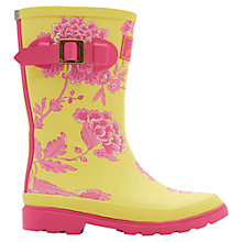 Buy Little Joule Floral Printed Wellington Boots, Lime Online at johnlewis.com