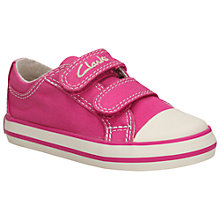 Buy Clarks Children's Halcy Star Rip-Tape Shoes, Pink Online at johnlewis.com