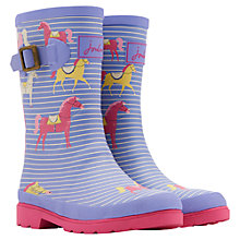 Buy Little Joule Horse Striped Wellingtons, Lavender/Silver Online at johnlewis.com