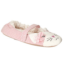 Buy John Lewis Children's Striped Cat Slippers, Pink/White Online at johnlewis.com