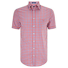 Buy Gant Dog Leg Poplin Check Short Sleeve Shirt, Coral Online at johnlewis.com