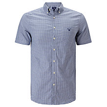 Buy Gant Tee Off Fitted Comfort Oxford Short Sleeve Shirt, Yale Blue Online at johnlewis.com