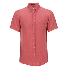 Buy Gant Linen Short Sleeve Shirt, Bright Coral Online at johnlewis.com