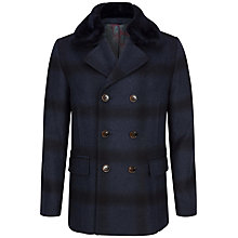 Buy Ted Baker Arion Check Wool Peacoat, Navy Online at johnlewis.com