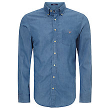 Buy Gant Plain Logo Shirt, Indigo Online at johnlewis.com