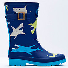 Buy Little Joule Shark Wellington Boots, Blue Online at johnlewis.com