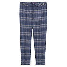 Buy Violeta by Mango 69 Check Wool Blend Trousers, Navy Online at johnlewis.com