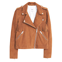 Buy Mango Texas Leather Jacket, Brown Online at johnlewis.com