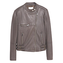 Buy Mango Leather Biker Jacket, Grey Online at johnlewis.com