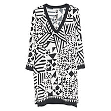 Buy Mango Geometric Print Dress, Natural White Online at johnlewis.com