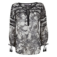 Buy Mint Velvet Viola Peasant Blouse, Black/Grey Online at johnlewis.com