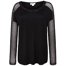 Buy Celuu Kaitlin Sheer Sleeve Jumper, Black Online at johnlewis.com