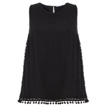 Buy Mint Velvet Pom Pom Top, Black Online at johnlewis.com