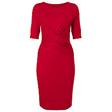 Buy Phase Eight Amy Drape Front Dress, Red Online at johnlewis.com