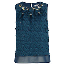 Buy Coast Romina Feather Top, Teal Online at johnlewis.com