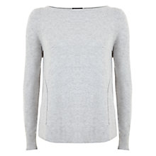 Buy Mint Velvet Curved Hem Jersey Top, Silver Grey Online at johnlewis.com