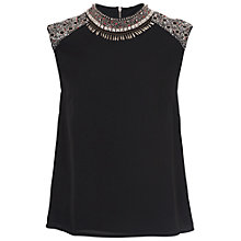 Buy French Connection Dark Angel Sleeveless High Neck Top, Black Online at johnlewis.com