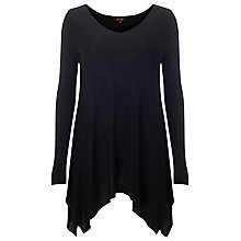 Buy Phase Eight Dora Dip Hem Top, Black Online at johnlewis.com