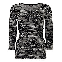 Buy Phase Eight Fiona Flocked Floral Top, Black/Grey Online at johnlewis.com
