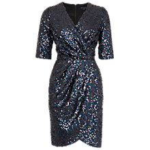 Buy French Connection Lunar Sparkle Wrap Dress, Charcoal Online at johnlewis.com