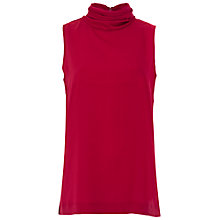 Buy French Connection Polly Plains High Neck Top, Morello Online at johnlewis.com