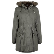 Buy Oasis Harriet Waxed Parka, Khaki Online at johnlewis.com