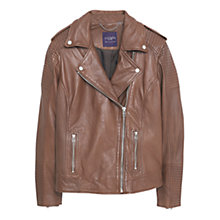 Buy Violeta by Mango Zip Leather Jacket, Medium Brown Online at johnlewis.com