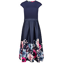 Buy Ted Baker Valquir Poppy Print Full Dress, Navy Online at johnlewis.com