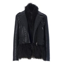 Buy French Connection Chicago Faux Fur Jacket, Black Online at johnlewis.com