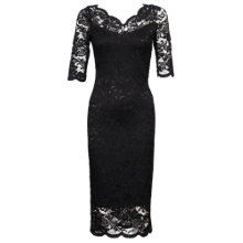 Buy Jolie Moi V-Neck Scalloped Dress, Black Online at johnlewis.com