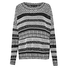 Buy French Connection Pattern Jumper, Black/White Online at johnlewis.com