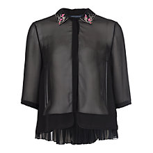 Buy French Connection Siren Jewel Collar Shirt, Black/Fluro Flash Online at johnlewis.com
