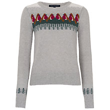Buy French Connection Rupert Robin Jumper, Light Grey/Multi Online at johnlewis.com