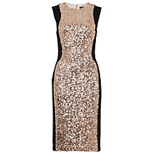 Buy French Connection Lunar Sparkle Sleeveless Dress, Pale Gold Online at johnlewis.com