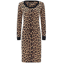 Buy Jaeger Leopard Print Knitted Dress, Camel/Black Online at johnlewis.com