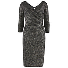 Buy Gina Bacconi Metallic Animal Print Wrap Dress, Black/Silver Online at johnlewis.com